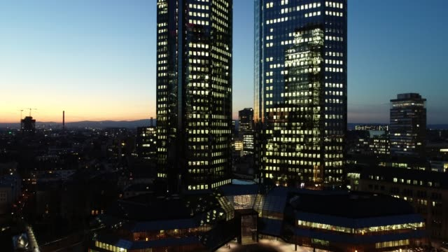 Frankfurt am Main - Blue Hour Aerial - Skyscrapers - Upwards