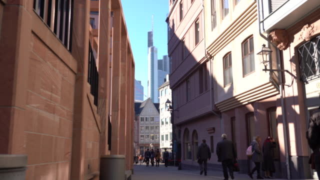 frankfurt am main - old town romerberg with new skyscrapers on the horizon - famous place stock videos & royalty-free footage