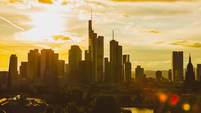 T/L Frankfurt am Main - Skyline / City Center - closeup sunset timelapse on a beautiful cloudy day to night