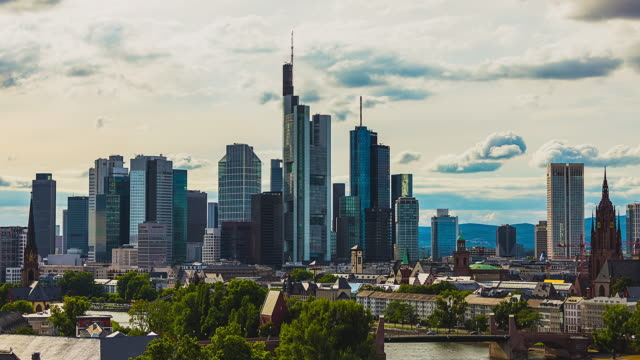 T/L Frankfurt am Main - Skyline / City Center - closeup timelapse on a beautiful cloudy day