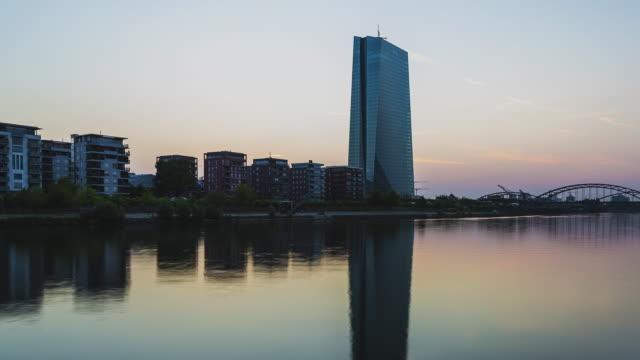 Frankfurt am Main - Skyline - Timelapse sunrise at river Main