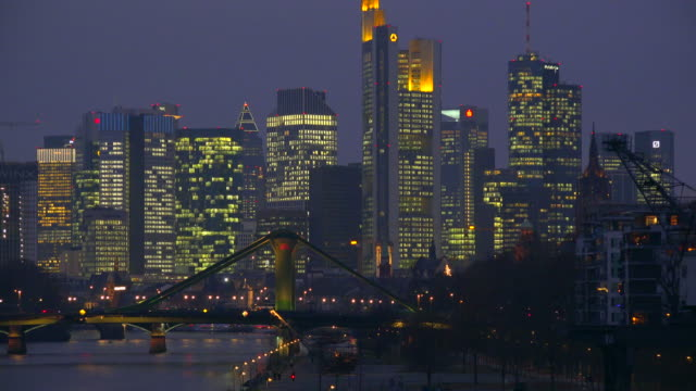 Frankfurt am Main, Skyline with Main River and Financial District, Hesse, Germany