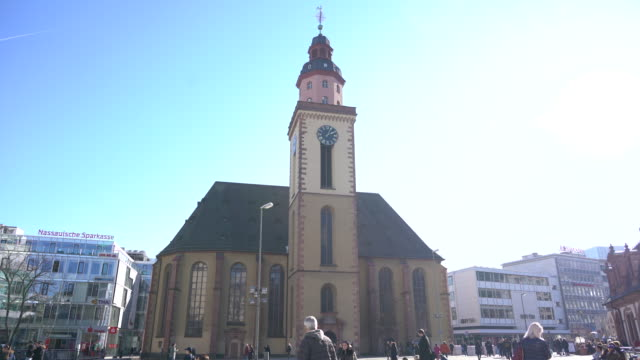 frankfurt am main - st. catherine's church - famous place stock videos & royalty-free footage