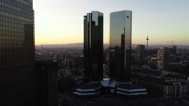 Frankfurt am Main - Sunset Aerial - Skyscrapers - Upwards