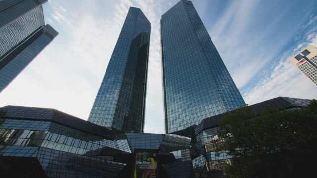 t/l frankfurt am main - timelapse at the deutsche bank tower - frankfurt main stock videos and b-roll footage