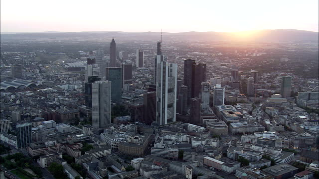 frankfurt at dusk - aerial view - hesse,  helicopter filming,  aerial video,  cineflex,  establishing shot,  germany - germany stock videos & royalty-free footage