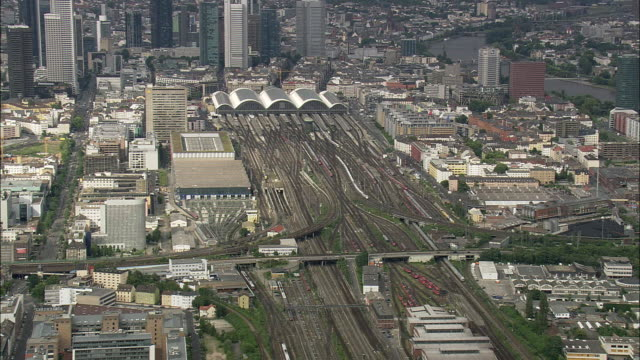 AERIAL Frankfurt Central Train Station with downtown district in background, Hesse, Germany