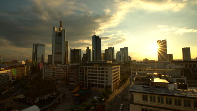 frankfurt downtown at sunset - hesse germany stock videos & royalty-free footage