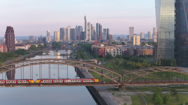 frankfurt, drone, skyline - drone point of view stock videos & royalty-free footage
