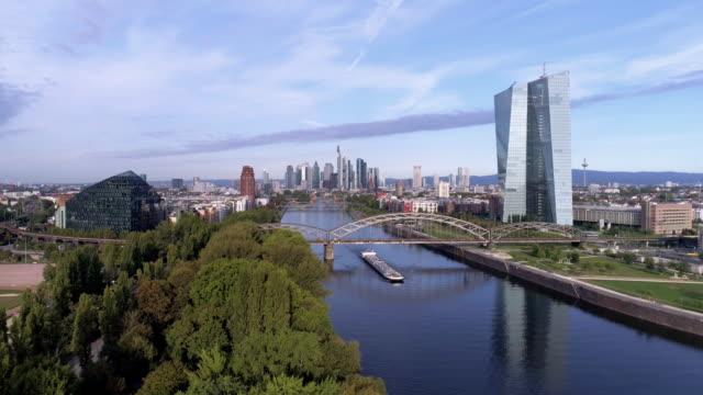 frankfurt european central bank and urban skyline - organisation stock videos & royalty-free footage