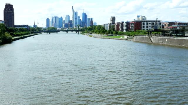 Frankfurter Fluss und Skyline von financial figures