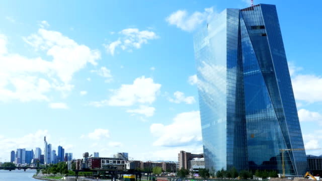 t/l frankfurt skyline and new european central bank headquarters - frankfurt main stock videos & royalty-free footage