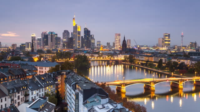 Frankfurt skyline and river at sunset - Time Lapse