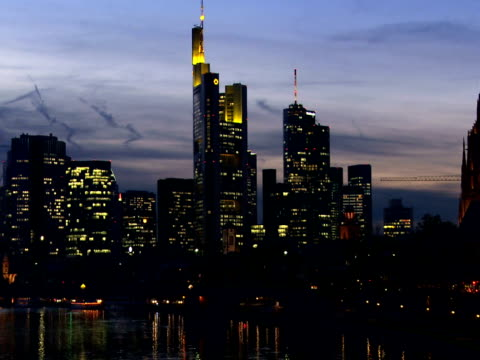 Frankfurt Skyline in the Evening (Panning)