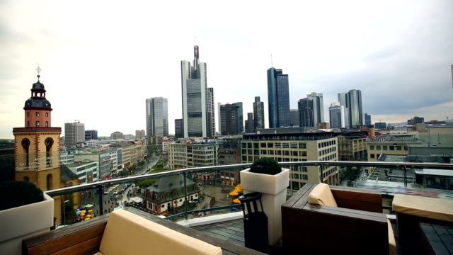 Frankfurt Skyline with restaurant in the foreground, Realtime