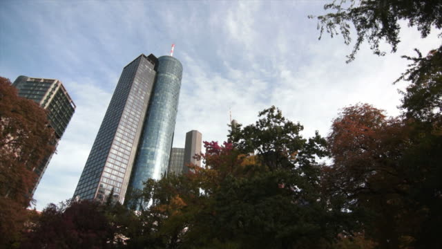 frankfurt skyscrapers pan and time lapse - main tower stock videos and b-roll footage