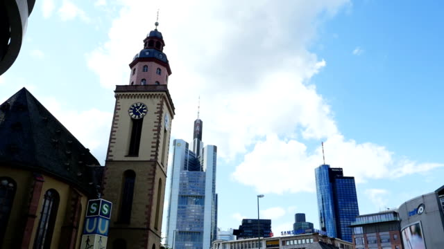 t/l frankfurt st. catherine's church and skyscrapers time lapse - main tower stock videos and b-roll footage
