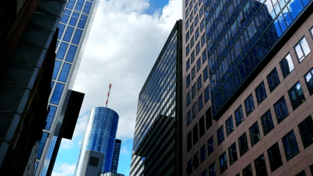 frankfurt street canyon and main tower t/l - main tower stock videos and b-roll footage
