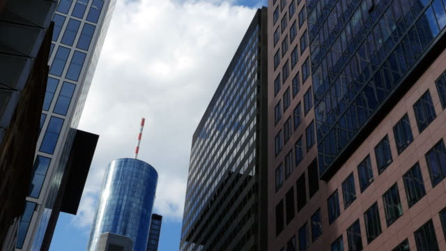 frankfurt street canyon and main tower - main tower stock videos and b-roll footage