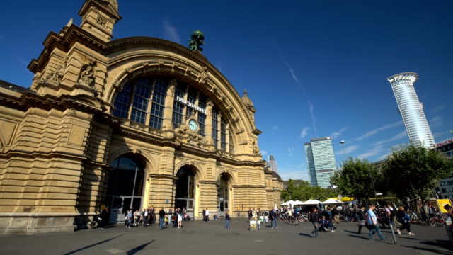 frankfurt train station, time lapse - railway station stock videos and b-roll footage