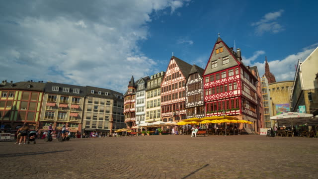 frankfurt's old town square and the romerberg - 4k time lapse - old town stock videos & royalty-free footage