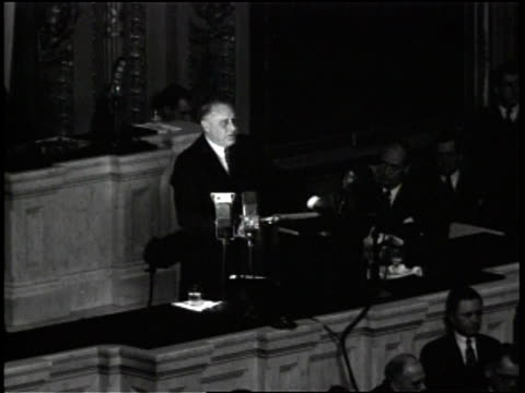 Franklin D Roosevelt delivering a speech in the House chamber