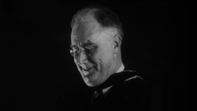 franklin d. roosevelt having speech to university students, saying he is practitioner of peace, believer in capitalism and eats scrambled eggs for... - 1932 stock videos & royalty-free footage