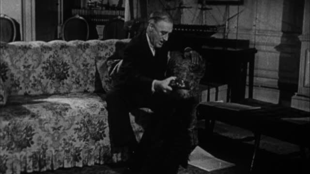 franklin d. roosevelt playing with his little black dog fala in his living room / washington d c, usa - 1932 stock videos & royalty-free footage