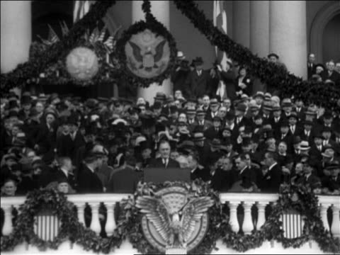 "vídeos de stock, filmes e b-roll de franklin roosevelt making speech at inauguration / ""the only thing we have to fear is fear itself"" / washington dc / audio - 1933"