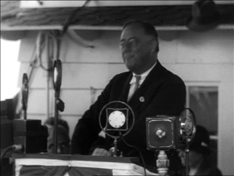 franklin roosevelt making speech at microphones during campaign - 1932 stock videos and b-roll footage