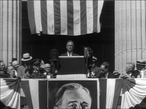 franklin roosevelt making speech at podium during campaign - 1932 stock videos and b-roll footage