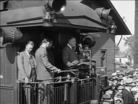 franklin roosevelt making speech on back of train during campaign - 1932 stock videos and b-roll footage