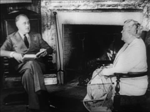 franklin roosevelt sitting by fireplace with book talking to mother - 1932 stock videos & royalty-free footage