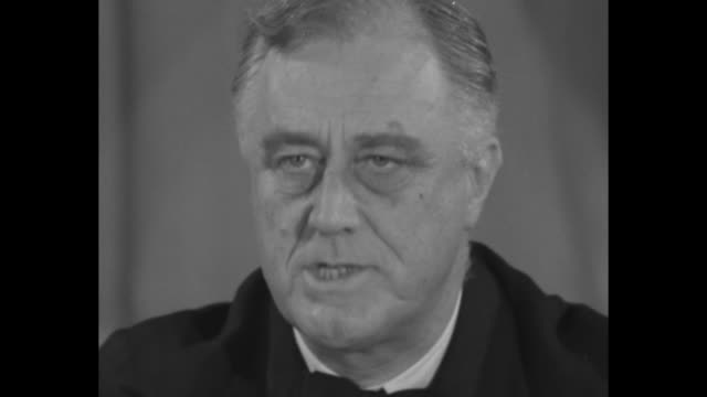 vídeos y material grabado en eventos de stock de cu franklin roosevelt speaking about his confidence that us and its allies will overcome axis powers sot we must be the great arsenal of democracy... - franklin roosevelt