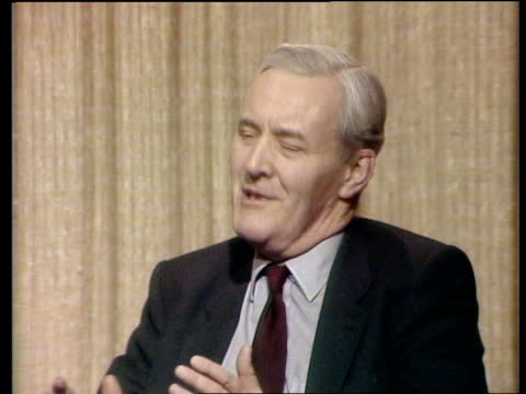 franks report into falklands invasion: reaction; england: london: int tony benn mp interview sot - my own opinion is now, as it was before...lessons... - トニー ベン点の映像素材/bロール