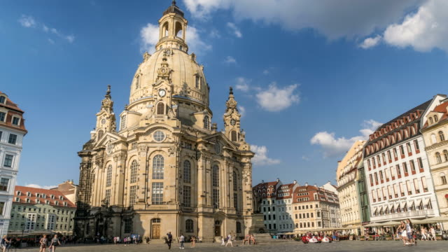 frauenkirche ,dresden, germany in summer - dresden frauenkirche stock videos & royalty-free footage
