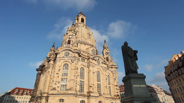 frauenkirche dresden - timelapse - christianity stock videos & royalty-free footage