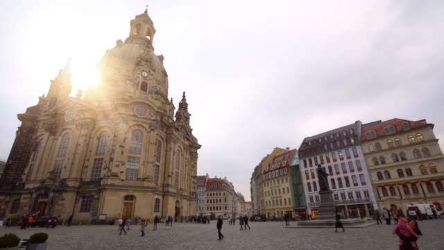 frauenkirche in dresden, time lapse - saxony stock videos & royalty-free footage