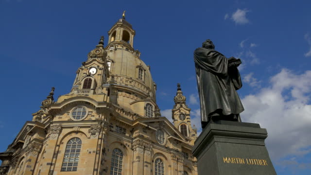 frauenkirche (church of our lady) with statue of luther on neumarkt square, dresden, saxony, germany - dresden frauenkirche stock videos & royalty-free footage