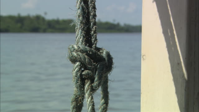 cu frayed rope knot with river moving past in background/ brazil - ausgefranst stock-videos und b-roll-filmmaterial