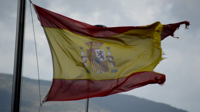 frayed spanish flag - spanish flag stock videos and b-roll footage