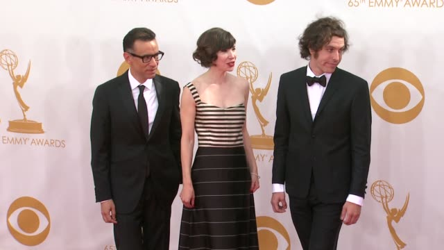 fred armisen carrie brownstein and jonathan krisel at the 65th annual primetime emmy awards arrivals in los angeles ca on 9/22/13 - annual primetime emmy awards stock-videos und b-roll-filmmaterial