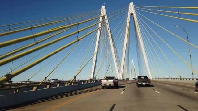 fred hartman bridge - cable stayed bridge stock videos & royalty-free footage