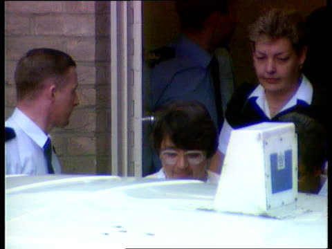 Fred West commits suicide in prison DATE Gloucestershire Gloucester Rosemary West escorted out of Court and towards car GV Cromwell Street PAN LR to...