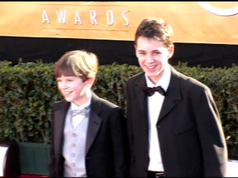 freddie highmore and joe prospero at the 2005 screen actors guild sag awards arrivals at the shrine auditorium in los angeles, california on february... - shrine auditorium stock videos & royalty-free footage