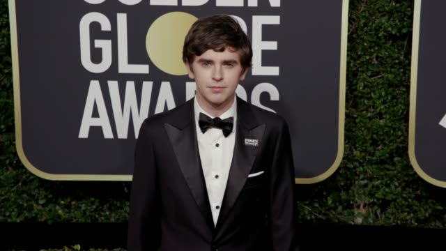 freddie highmore at the 75th annual golden globe awards at the beverly hilton hotel on january 07, 2018 in beverly hills, california. - the beverly hilton hotel stock videos & royalty-free footage