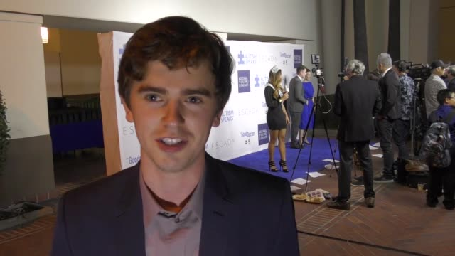 interview freddie highmore talks about his role on the good doctor outside union station in los angeles in celebrity sightings in los angeles - union station los angeles stock videos & royalty-free footage