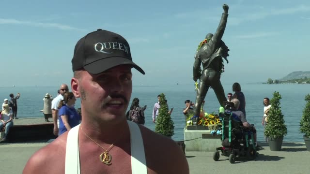 freddie mercury's fans celebrate his birthday in montreux where his group queen recorded a few albums and this year they say they are particularly... - montreux stock videos and b-roll footage