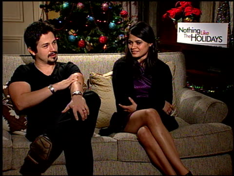 Freddie Rodriquez and Melonie Diaz on having fun on set at the 'Nothing Like the Holidays' junket at Los Angeles CA
