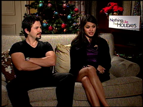 Freddie Rodriquez and Melonie Diaz on the similarities of the Rodriquez family and her own at the 'Nothing Like the Holidays' junket at Los Angeles CA